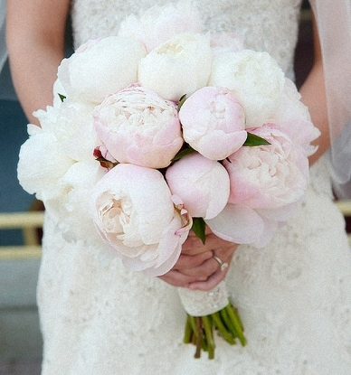 Blush & white, a two tone Peony bouquet