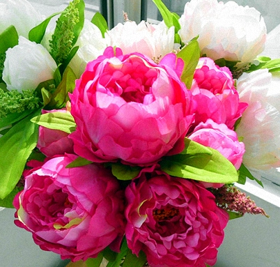 Fuchsia & white, a two tone Peony bouquet