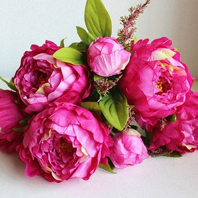 Bouquet with fuchsia Peonies