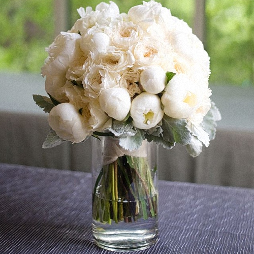 Vase Gift with White Peonies & Cream Garden Roses